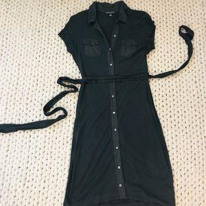 Banana Republic Black Button Down Midi Dress